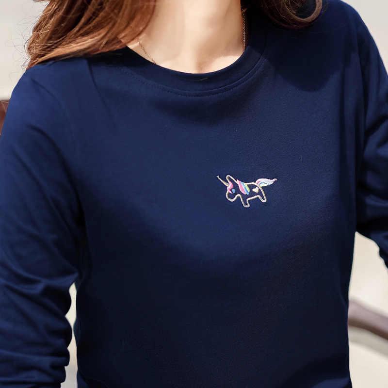 Зимняя футболка с длинным рукавом, женские топы, футболки с круглым вырезом, женская футболка с вышивкой Kawaii, черная белая футболка, осенние базовые футболки