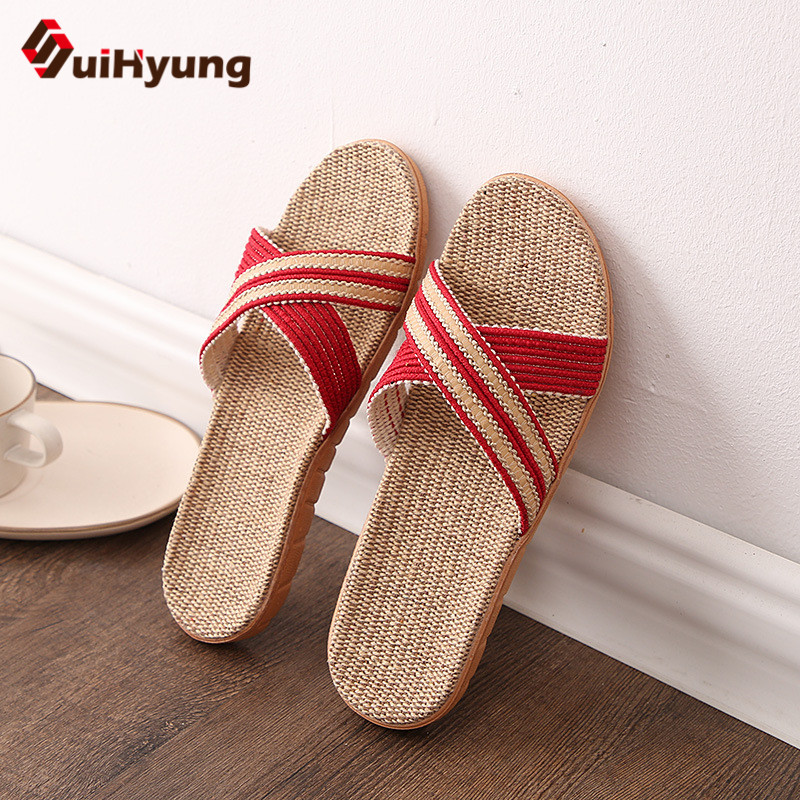 Suihyung 2018 New Unisex Linen Slippers Vintage Cane Grass Weaving Women Men Beach Slipper EVA Flip Flops Female Summers Sandals