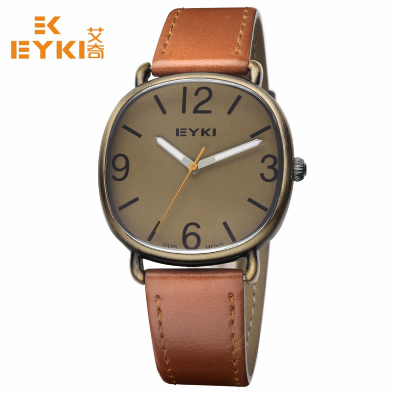 EYKI Men Watch New Luxury Brand Ultra Thin Full Genuine Leather Clock Waterproof Male Casual Quartz