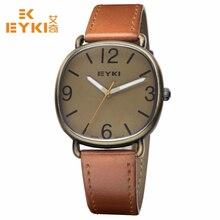EYKI Hommes Montre Nouvelle Marque De Luxe Ultra Mince En Cuir Véritable Pleine Horloge Mâle Étanche Casual Quartz Montre-Bracelet relogio masculino