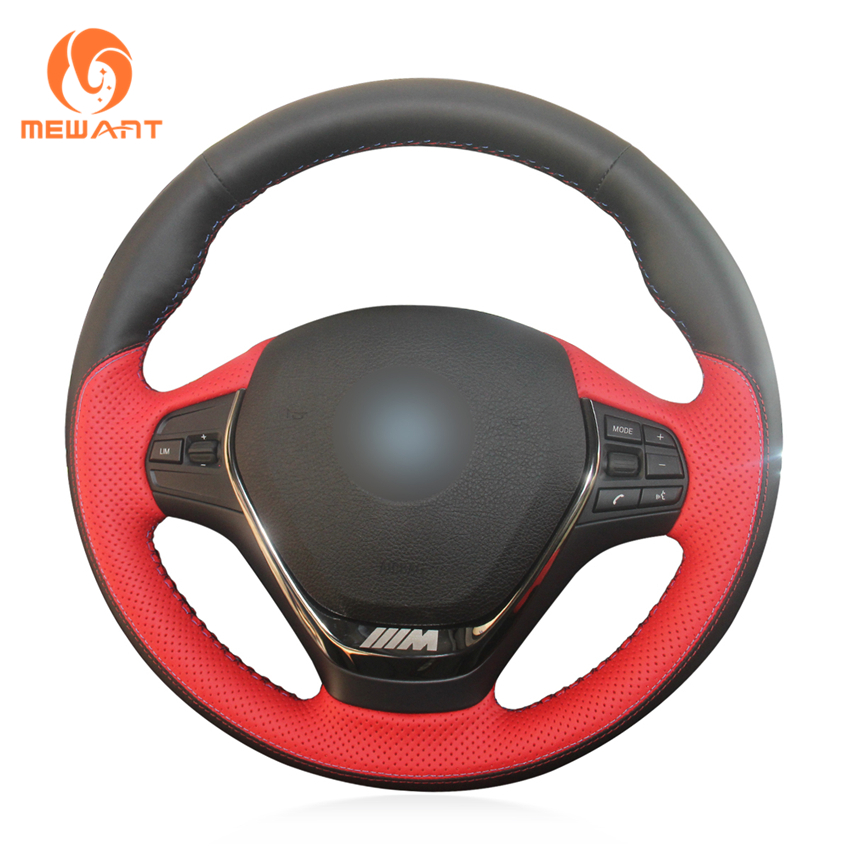 MEWANT Red Black Genuine Leather Steering Wheel Cover for BMW F20 2012-2018 F45 2014-2018 F30 F31 F34 2013-2017 F32 F33 F36 2014