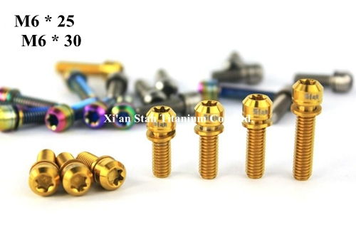 Titanium TC4 M6 25mm M6 30mm Fixing Screws Bolts With Washers Gold / Rainbow / Black / Blue / Primary