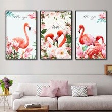 Pink Flamingos Animals Canvas Art Wall Picture Birds Lover Couple Modern Print Poster Home Decoration Painting for Bedroom