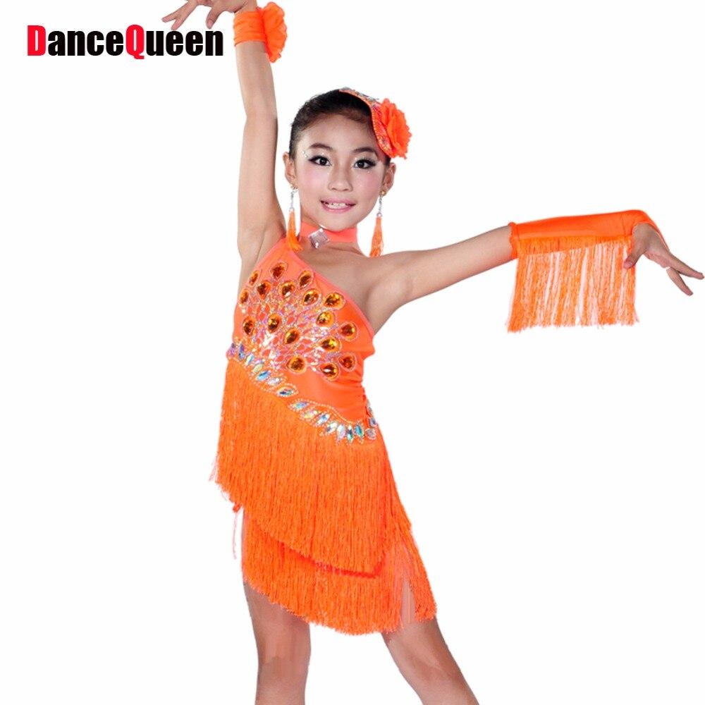 2016 Children'S Latin Dance 6pcs(Dress&Headwear&Earring&Necklace&Hand Flower&Hand Cuff) Girls Salsa Dress Kids Latin Dresses