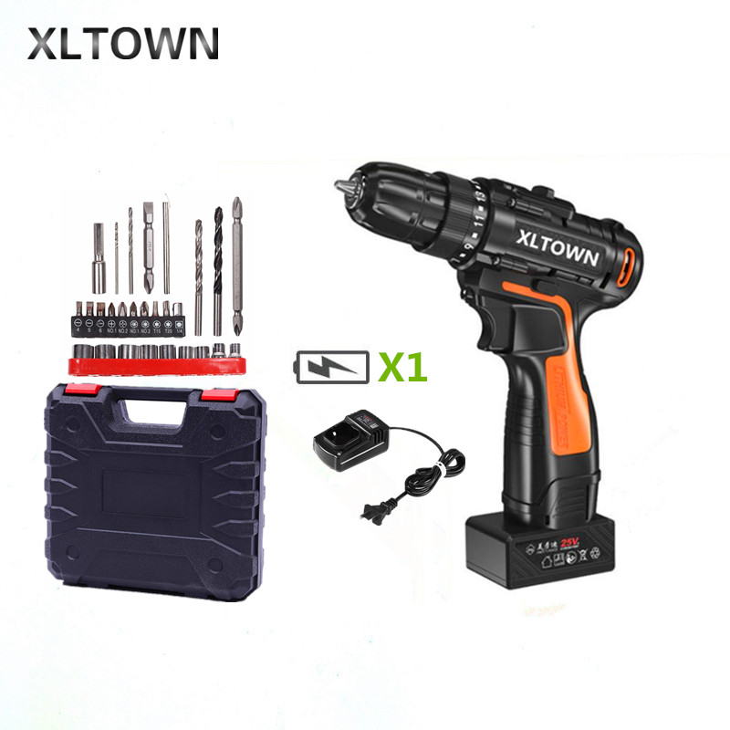 XLTOWN 25v electric screwdriver rechargeable lithium battery cordless electric drill home power hand drill power tool dril bits 25v lithium battery household wireless electric drill torque drill bits hand drill electric screwdriver wrench power tool