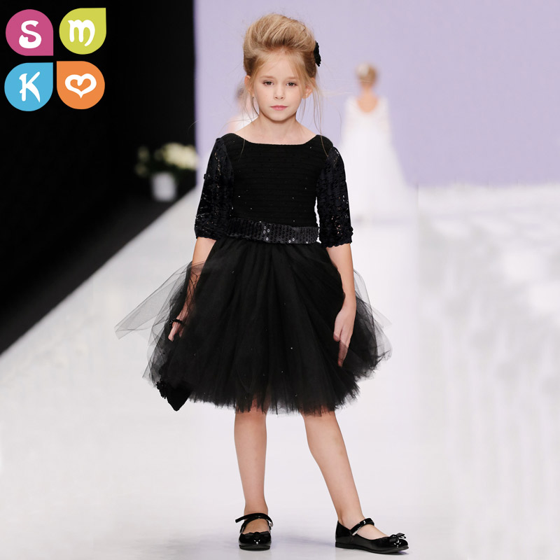 Girls Black Tutu Dress Tulle Bridesmaid Flower Girl