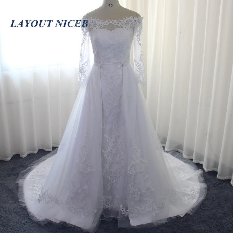 New Detachable Train Vestidos De Noiva Off the Shoulder Long Sleeve Wedding Dress 2019 Bride Dress Robe De Mariee suknie slubne in Wedding Dresses from Weddings Events
