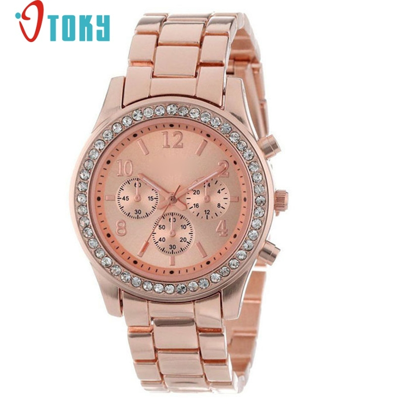 Watch women faux chronograph quartz classic round ladies crystals watches wrist yj5 dropshipping op