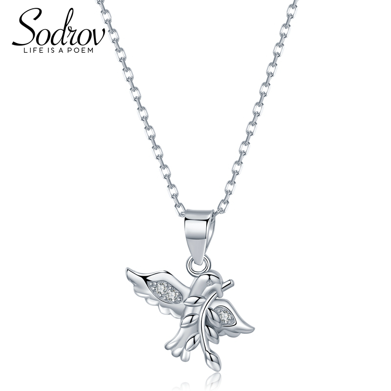 SODROV Authentic 925 Sterling Silver Spring Bird And Animal Charm Necklace Ladies Silver Jewelry HN014
