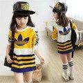 Девочки-подростки мода топы девушки футболка для весна и осень с футболки дети тис