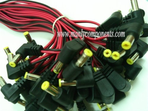 100pcs DC 5.5*2.1mm L-type Male Plug 12V Power Cable 12*0.12mm Wire for LED or CCTV