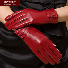Winter woman genuine leather gloves female thickening keep warm sheepskin womens fashion MLZ014