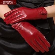 Zimowe damskie oryginalne skórzane rękawiczki damskie pogrubienie utrzymuj ciepłe rękawice z owczej skóry modne rękawiczki damskie MLZ014