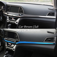 For Hyundai Elantra 2016 2018 Interior Central Console Strips Trims Cover Protector Stainless Steel Molding Car Accessories