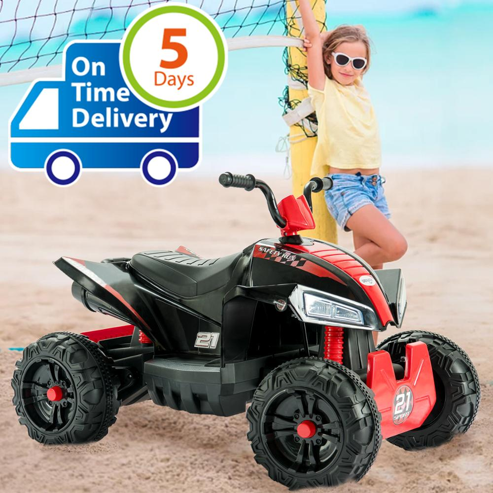 Uenjoy ATV for Kids 4 Wheeler Quad 12V Battery Power Electric Ride On Car  w/ Wheels Suspension,2 Speed,LED Lights,Built-in Horn