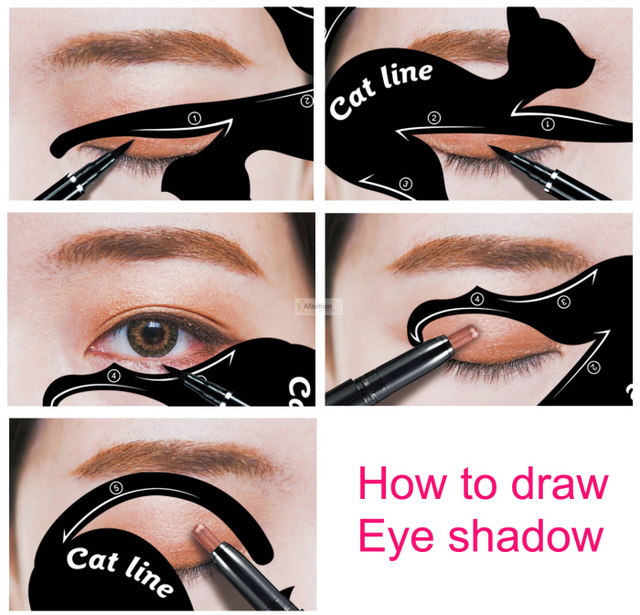 2pcs Cute Cat Eyeliner Stencil kit for eyebrows guide template Maquiagem eye shadow frames card makeup tools 5