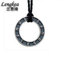 Lengkea jewery,Necklace for men,Men chokers,990 sterling silver necklace,Brief Retro circles pendant,2018 jewelry boyfriend gift