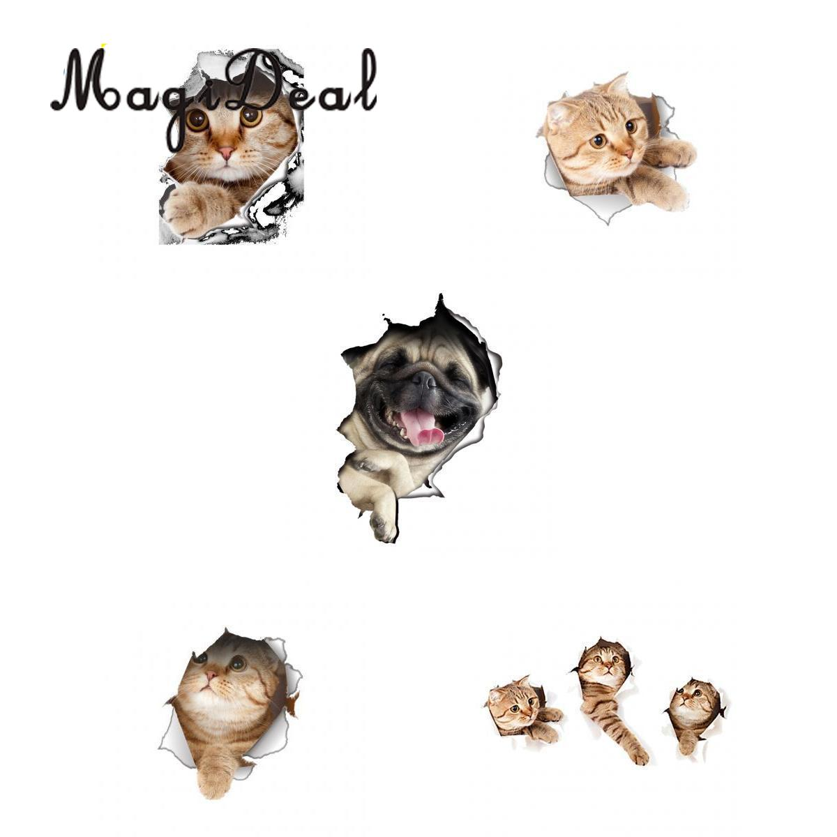 5Pcs 3D Cats Wall Decals Removable Toilet Stickers Hole View Vivid Dogs Decals Art Sticker for Bathroom Kids Room Refrigerator