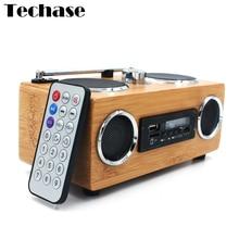 Caixa de Som de bambú Sin Hilos Portable Del Altavoz Reproductor de MP3 Radio FM USB Subwoofer Altavoces MP3 AUX Altavoz Portatil de Alto Falante