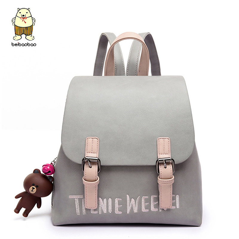 Beibaobao 2017 Women Backpack High Quality fashion Leather Mochila Escolar School Bags For Teenagers Girls Top Backpacks a1182/b