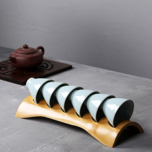 Hand Made Bamboo TeaCup Set Holder Chinese Kung Fu Tea Ceremony Accessories Wooden High Quality Natural Tools