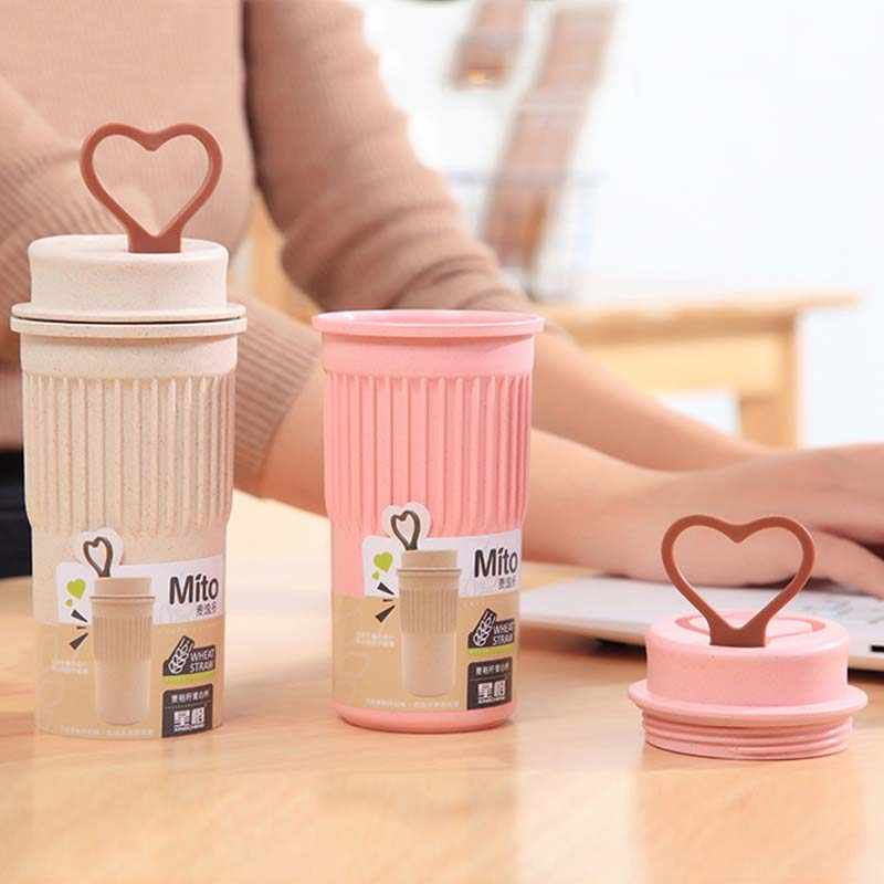 350ml Eco Friendly Wheat Straw Coffee To Go Cups Travel Mug With Lids Travel Cup Portable For Camping Hiking Picnic