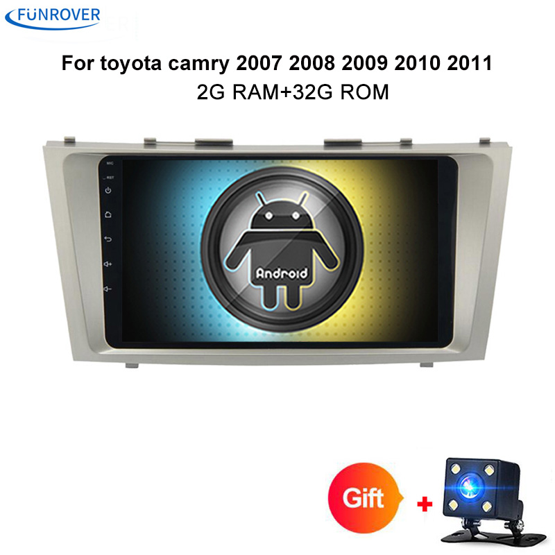 Funrover 2 din Quad Core 2G+32G android 8.0 car dvd gps player for toyota camry 2007 2008 2009 car radio with steering wheel FM