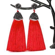 14 Colors Fashion Crystal Silk Tassel Earrings Handmade High Quality Black White Long Drop Tassel Dangle Earrings Women Jewelery