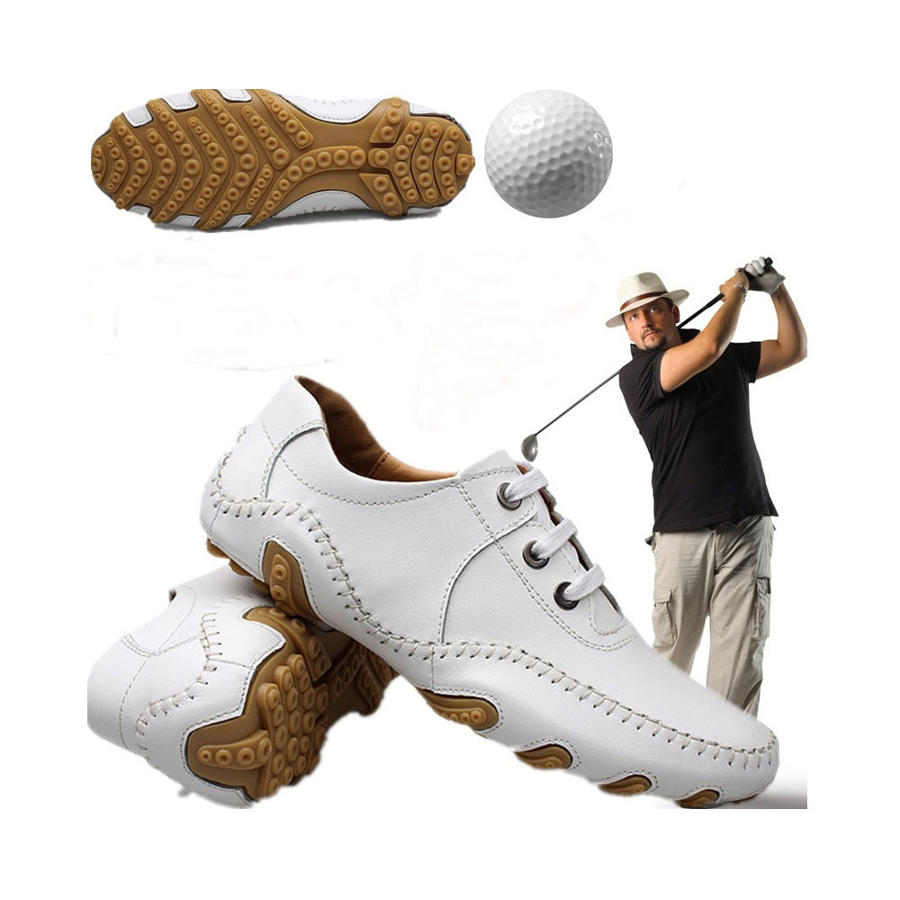 Men golf shoes Male money waterproof head layer cowhide rotating nail shoes LACES activities