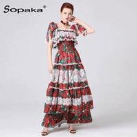 2019 summer sort sleeve colorful floral printed Ruffles lace long women dress boho runway design maxi dresses for woman
