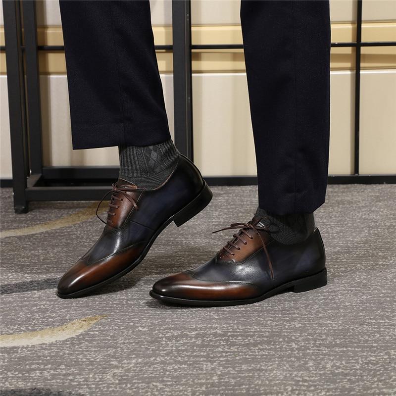 Echtes Leder Männer Formale Oxfords Schuhe Business Büroarbeit Kleid Schuhe für Männer Komfortable Spitzen Bis Spitz Größe 39 46 - 6