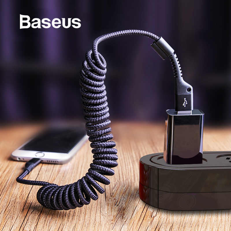 Baseus Spring USB Cable for iPhone XR Xs Max Car Cable Nylon Braided Retractable Charging Cable for iPhone X 8 7 6 6s Plus Cord