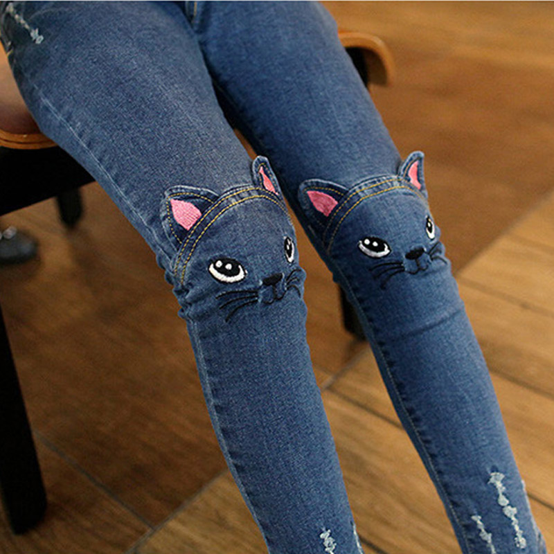 2016 New Cute Cartoon Pattern Kids Jeans Winter Autumn Lovely Cat High Quality Children Pants Casual trouses Baby Girls Jeans