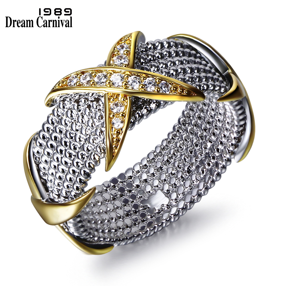Dreamcarnival 1989 Wedding Band Rings for Women Golden Color Cross CZ Luxury Engagement Jewelry Stackable anillos mujer Mulheres