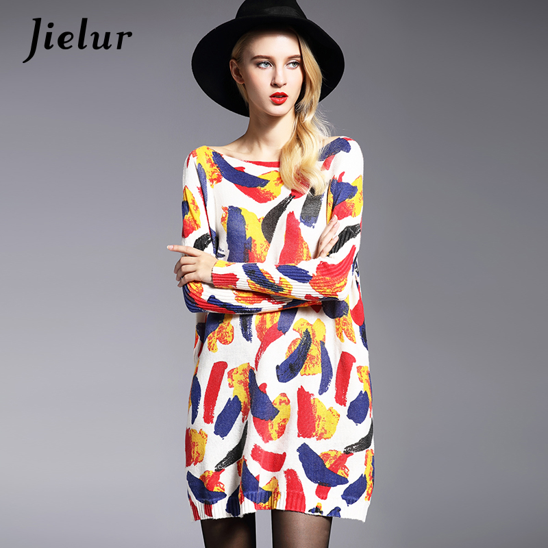 2017 New Autumn Europe Fashion Oversized Sweater Loose Casual Colorful Printed Women's Sweaters Pullovers Long Knitwear 3 Colors