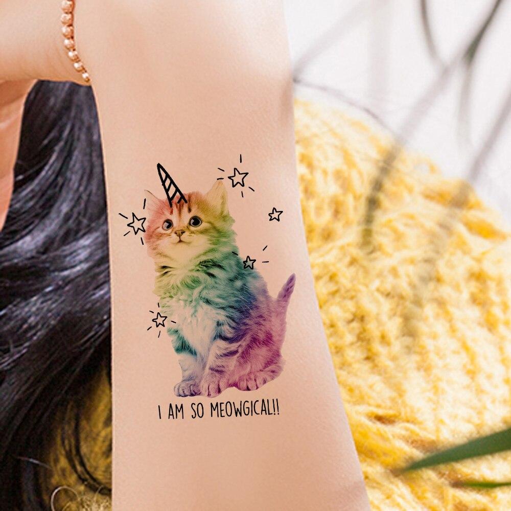 VANKIRS Watercolour Cats Temporary Tattoos Stickers Flash Women Arm Fake Tatoos Kid Stars Unicorn Cartoon Waterproof Tattoo Neck