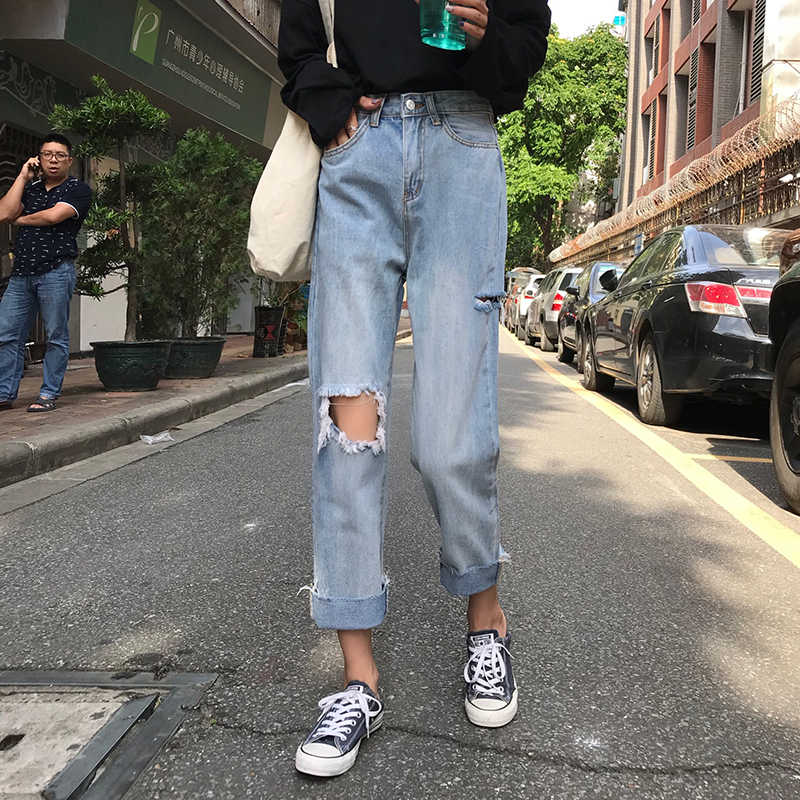 2019 Весна и лето новая Корейская версия рваные кудрявые джинсы Высокая талия широкие брюки тонкие девять брюки женские MW139