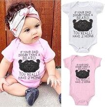 DERMSPE 2019 Newborn Infants Baby Boys Girls Losse Short Sleeve Letter Printed Cotton Romper Jumpsuit Clothes White Pink