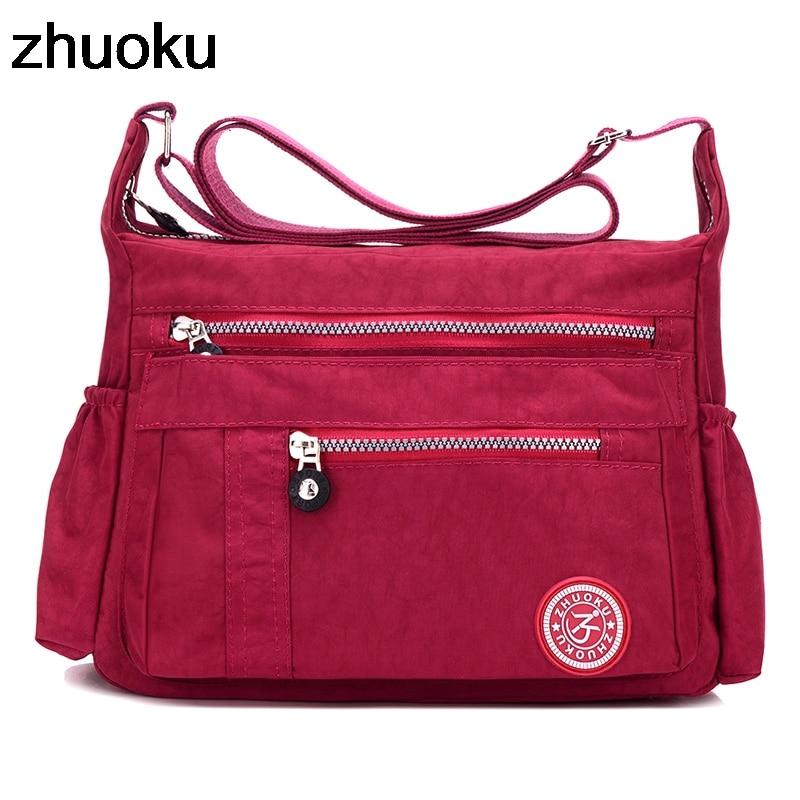 Bolsa de mensajero de lujo ZHUOKU para mujer, bolso de hombro de nailon resistente al agua, bolso de viaje para mujer, bolso bandolera para mujer