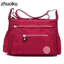 ZHUOKU роскошная женская сумка-мессенджер непромокаемая нейлоновая сумка на плечо Женская Bolsa Feminina дорожная сумка женская сумка через плечо