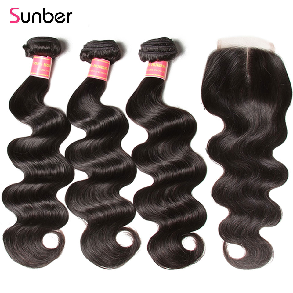 Sunber Hair Peruvian Body Wave Hair Bundles With Closure Remy Human Hair Weaves 3 Bundles With