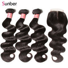 Sunber Hair Peruvian Body Wave Bundles With Closure Remy Human Weaves 3 Double Machine Weft