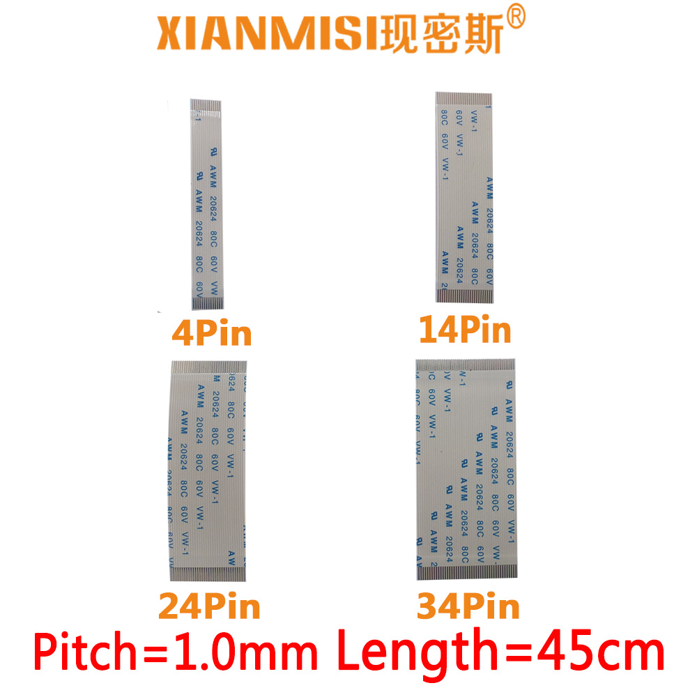 15cm 4Pin 0.5mm Pitch FFC Flexible Flat Cable Opposite Side AWM 20624 80C 60V