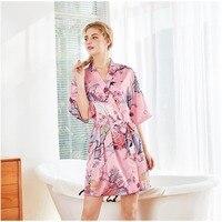 Pregnant Women Sleepwear Silk Satin Print Floral Robe Short Kimono Bathrobe Gown Maternity Robe Sexy Casual Home Clothes