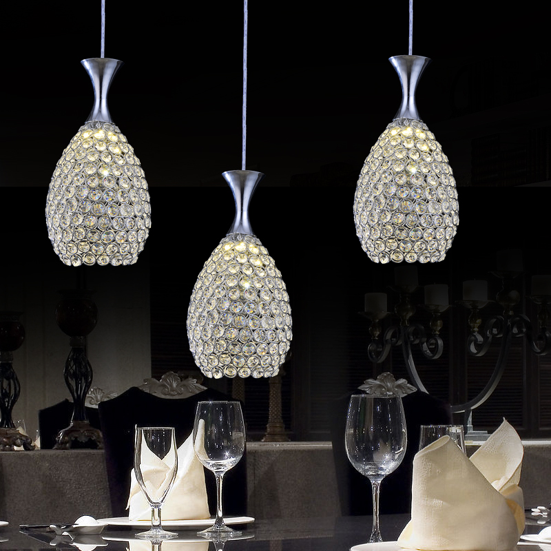 Indoor Lighting Pendant Lights K9 Crystal And Stainless Steel Lamp Restaurant Bar Coffee Dining Room Led Hanging Light Fixture
