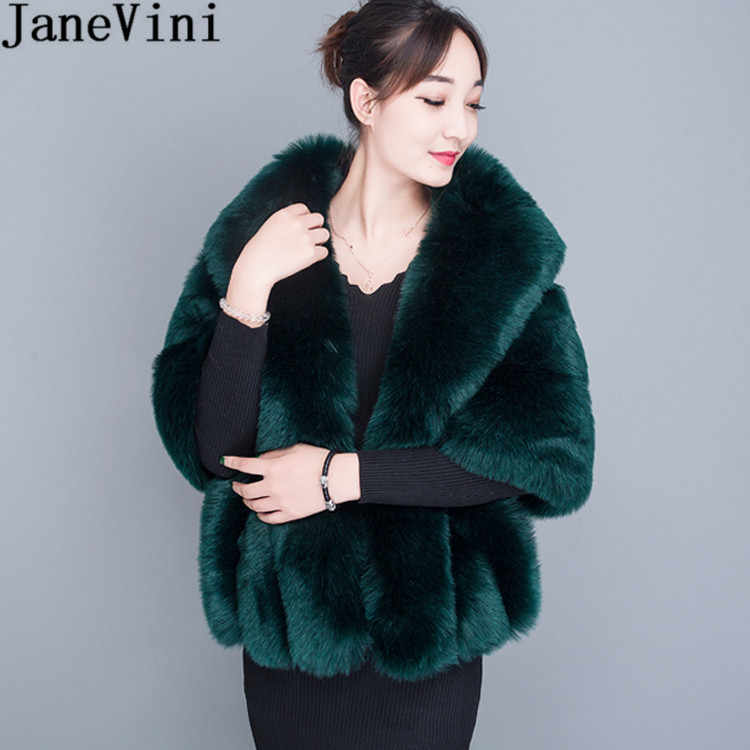 JaneVini 2019 White Winter Bridal Fur Faux Wraps Women Warm Shawls Cloaks Wedding Coat Jackets for Evening Party Etole Mariage