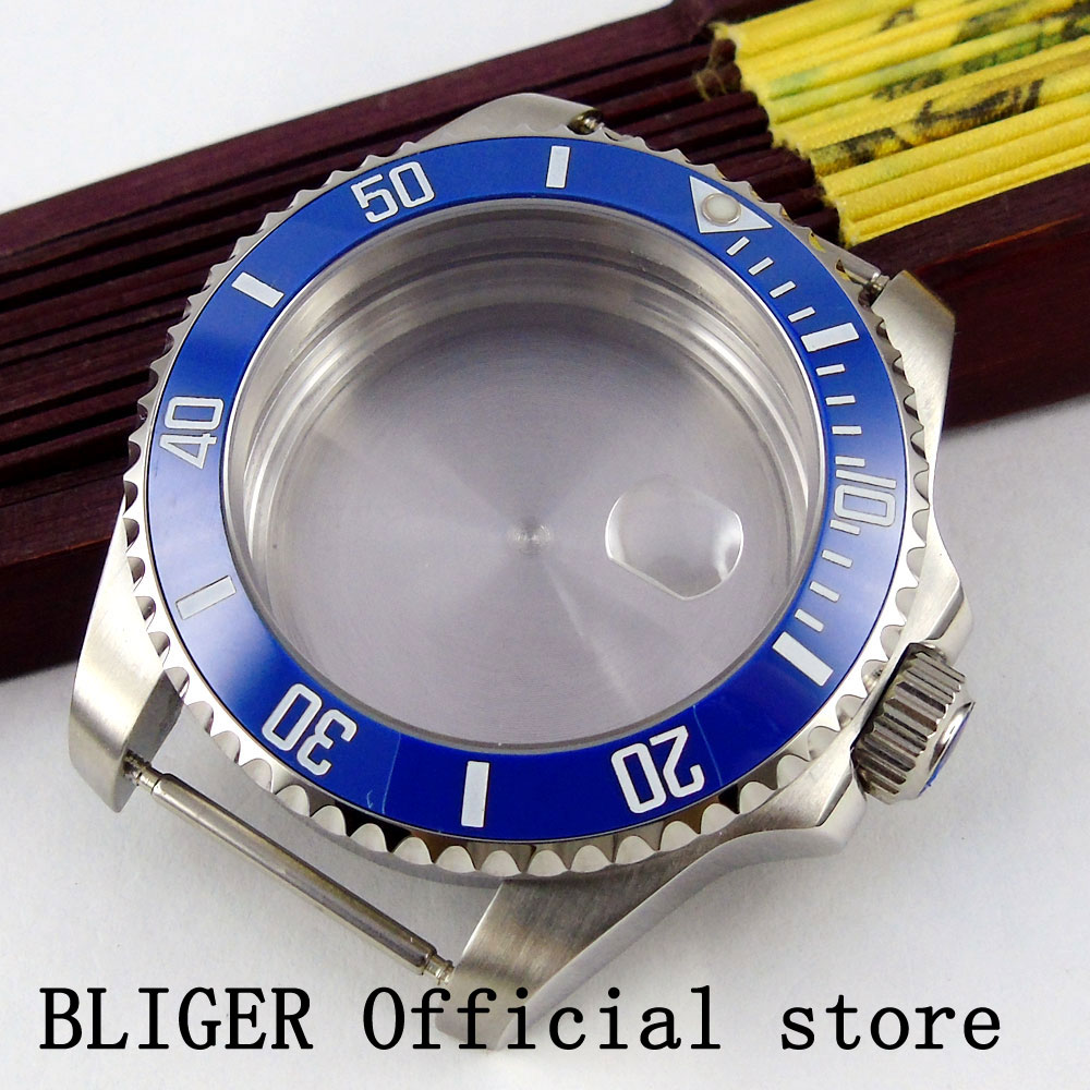 BLIGER 40MM Luxury Top Brand Stainless Steel Case Sapphire Glass Ceramic Bezel Watch Case Fit ETA 2824 2836 Automatic Movement tophill switzerland movement luxury watch classic sapphire glass women quartz wrist watch 316 stainless steel case watch ab1866