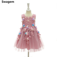 2018 Girl Tutu Dress Summer Children 3D Flower Lace Dress Fancy Princess Birthday Party Dress Vestido