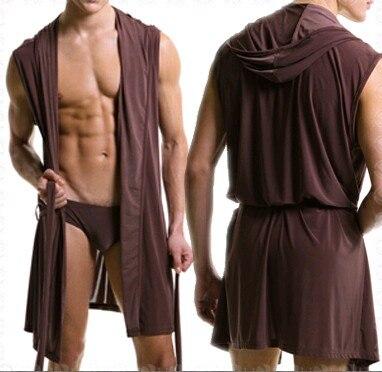 Hot Summer Dress Bath Robe Men Sexy Pajamas Sleepwear Silk Pijama Hombre Hooded Bathrobe Men Bathing Pyjamas 4color No Brief