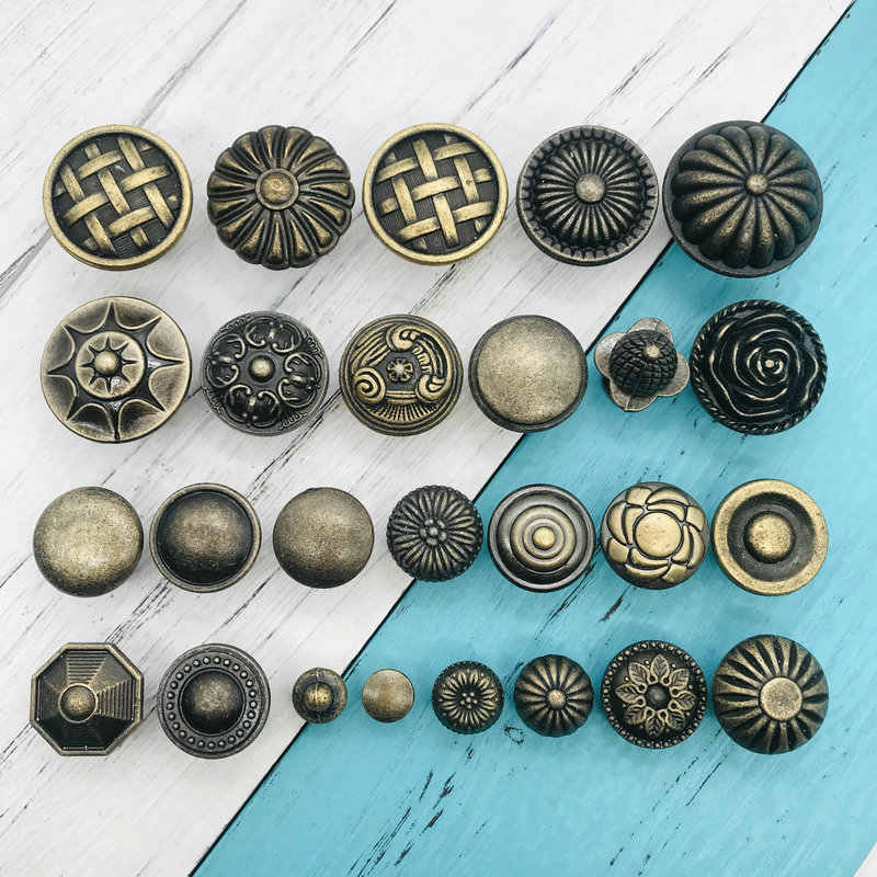 1pc Vintage Antique Brass Cabinet Handles Single Bronze Handles Drawer Knobs Wardrobe Door Pullers Wooden Box Dresser Pull Knobs